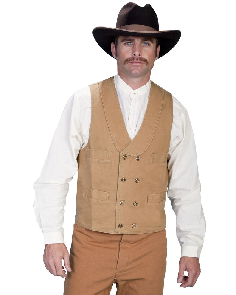 Rangewear by Scully Men's Double Breasted Vest, Brown, hi-res