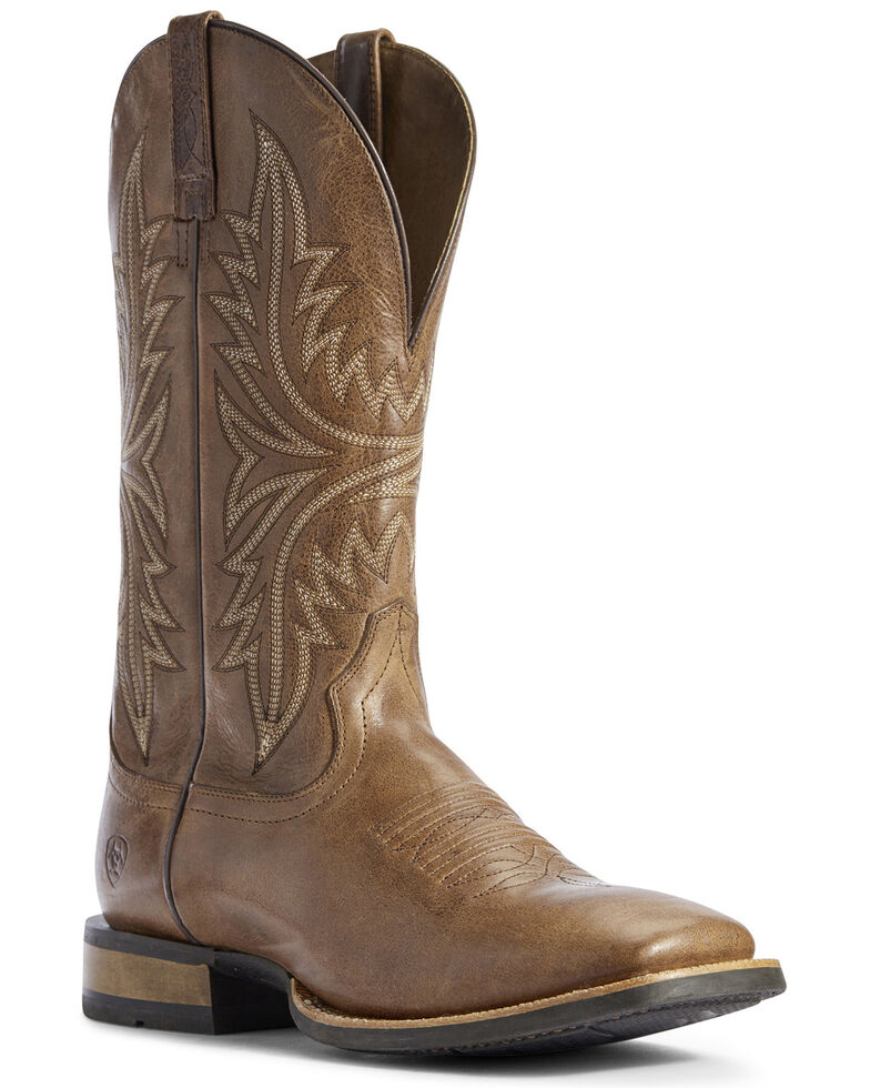 Ariat Men's Cowhand Bayou Western Boots - Wide Square Toe, Brown, hi-res