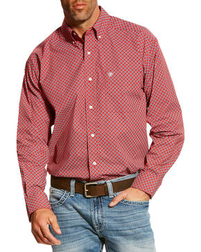 Ariat Men's Red Bardwell Print Long Sleeve Shirt - Tall , Red, hi-res