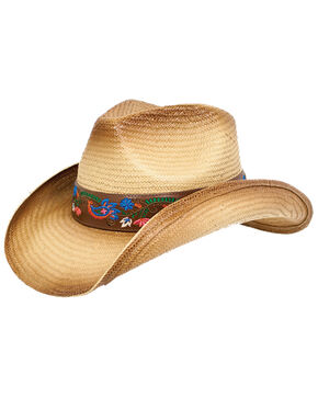Peter Grimm Women's Alma Floral Band Straw Hat, Tan, hi-res