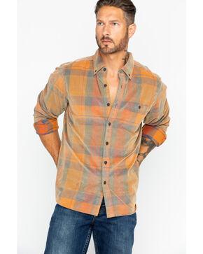 North River Men's Large Plaid Corduroy Shirt, Orange, hi-res