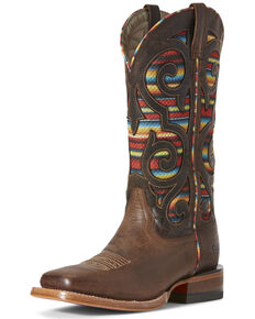 Ariat Women's VentTEK Baja Weathered Russet Western Boots - Wide Square Toe, Brown, hi-res