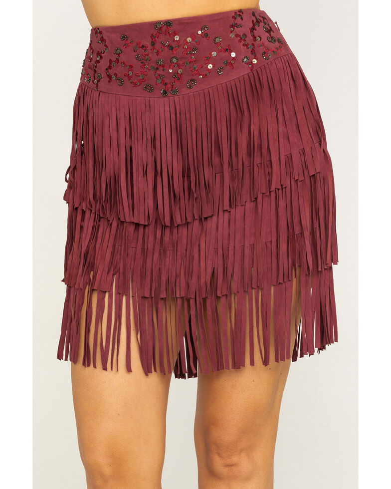 Idyllwind Women's Wine Sway Away Fringe Skirt, Wine, hi-res
