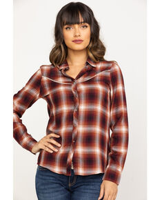 Shyanne Life Women's Rust Plaid Flannel , Rust Copper, hi-res