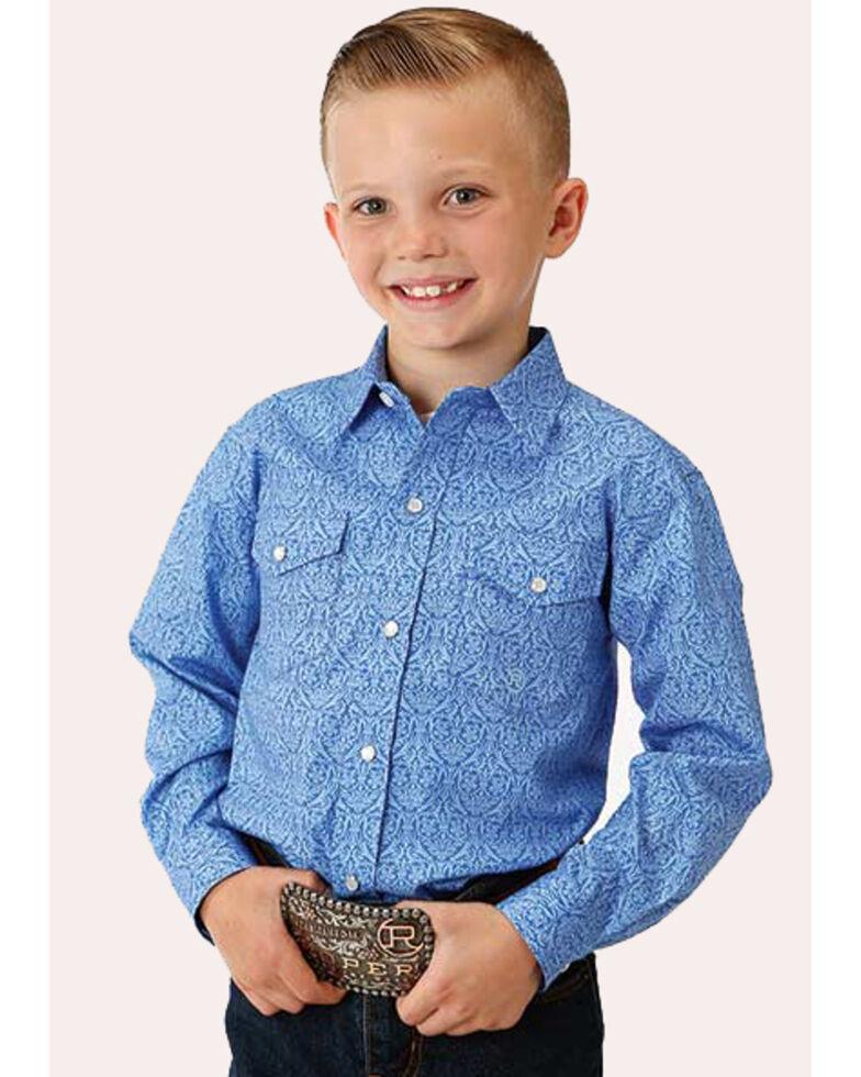 Roper Boys' Amarillo Wallpaper Paisley Print Long Sleeve Western Shirt , Blue, hi-res