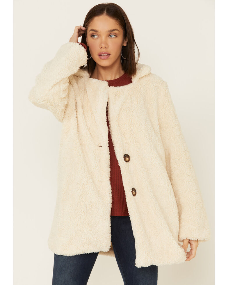 Saints & Hearts Women's Button Front Sherpa Jacket , Cream, hi-res