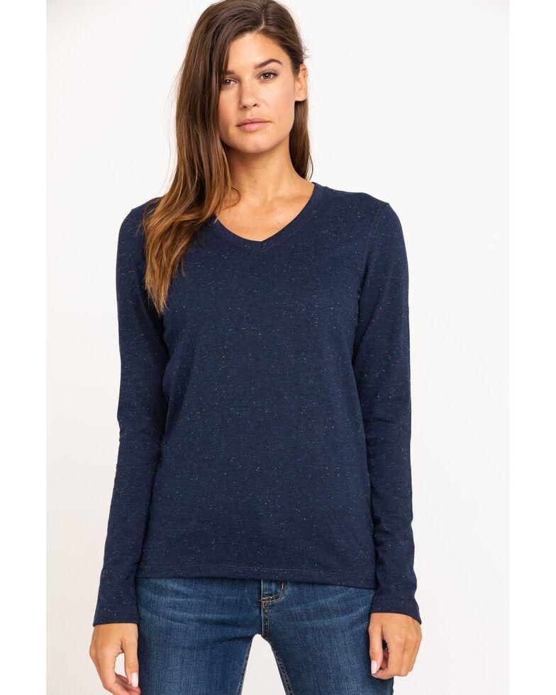 Carhartt Women's Brown Lockhart Long Sleeve V-Neck Shirt , Navy, hi-res