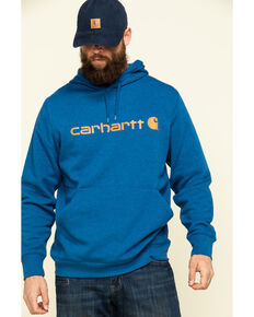 Carhartt Men's Blue Force Delmont Signature Graphic Hooded Work Sweatshirt , Blue, hi-res