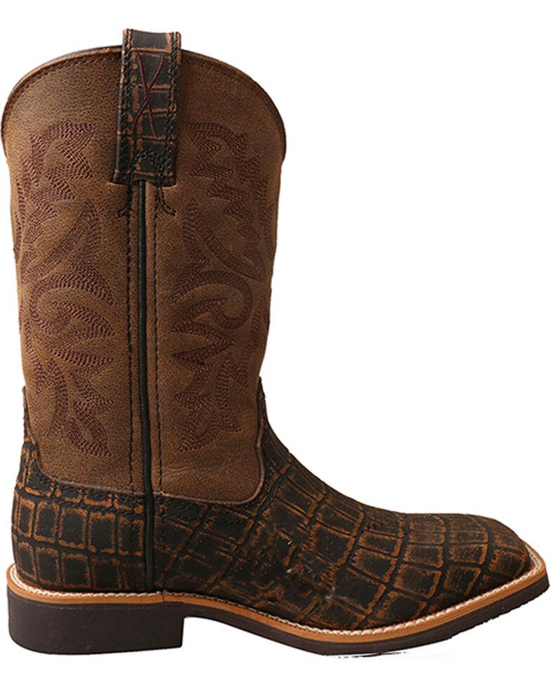 Twisted X Boys' Caiman Print Cowboy Boots - Square Toe, Brown, hi-res