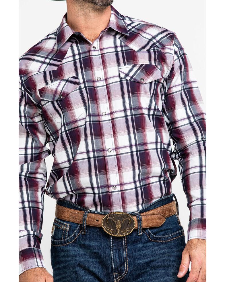 Gibson Men's Wryridge Plaid Long Sleeve Western Shirt , Maroon, hi-res