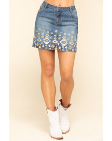 Stetson Women's Denim Aztec Embroidered Mini Skirt , Blue, hi-res