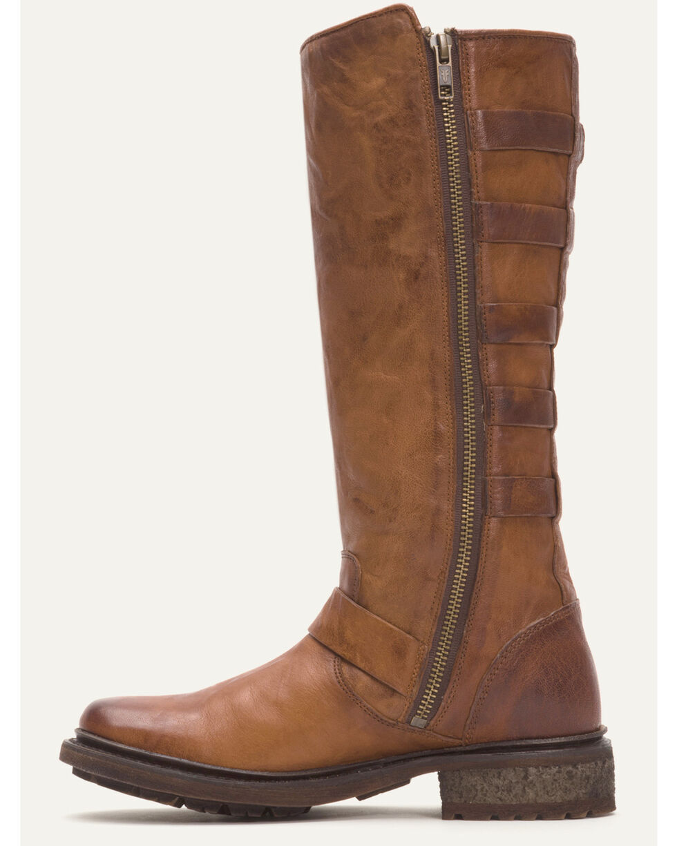 Frye Women's Cognac Valerie Belted Tall Shearling Boots - Round Toe , Cognac, hi-res