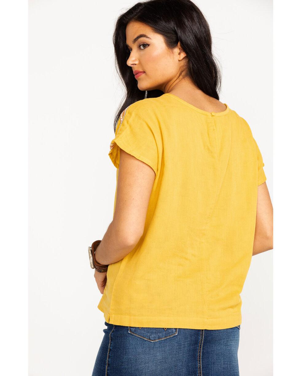 Ariat Women's Solid Mona Tassel Short Sleeve Top  , Gold, hi-res