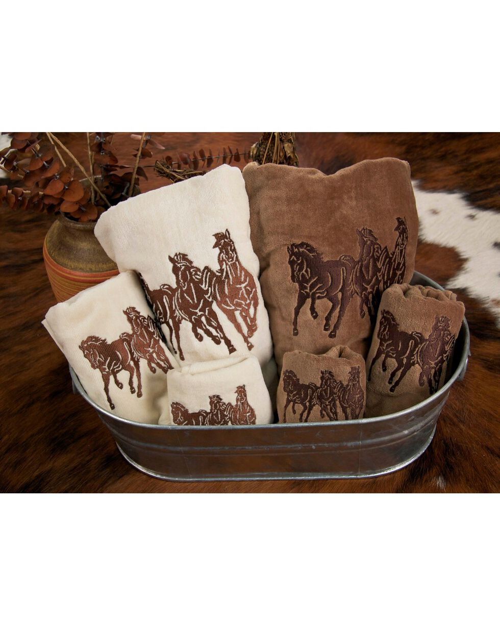 HiEnd Accents Three-Piece Embroidered Horses Bath Towel Set - Cream, Natural, hi-res