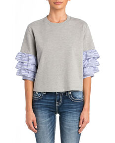 Miss Me Women's Grey Ruffle Heathered Sweatshirt , Grey, hi-res