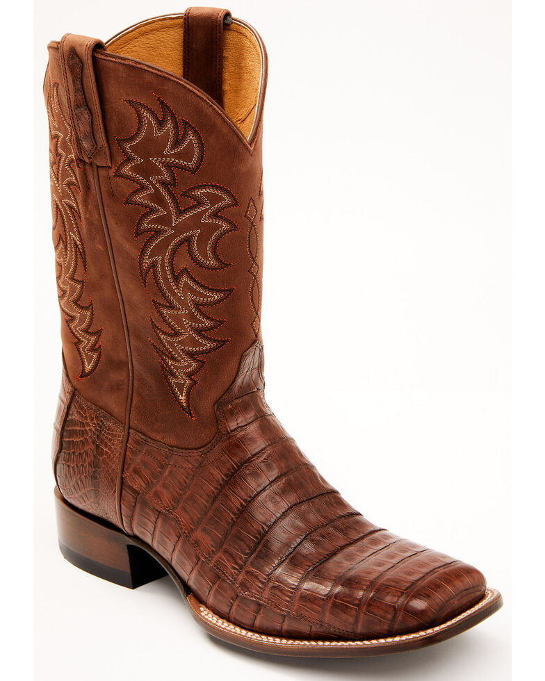 Cody James Men's Vidriado Exotic Caiman Skin Western Boots - Wide Square Toe, Cognac, hi-res