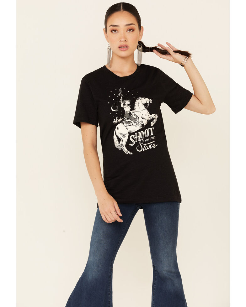 Ali Dee Women's Shoot For The Stars Graphic Short Sleeve Tee , Black, hi-res