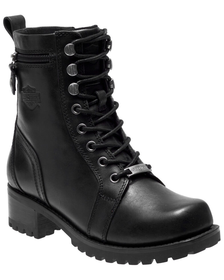 Harley Davidson Women's Keeler Moto Boots - Round Toe, Black, hi-res