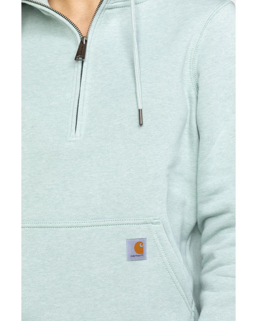 Carhartt Women's Heather Grey Clarksburg Half-Zip Hooded Zipper Sweatshirt, Heather Grey, hi-res