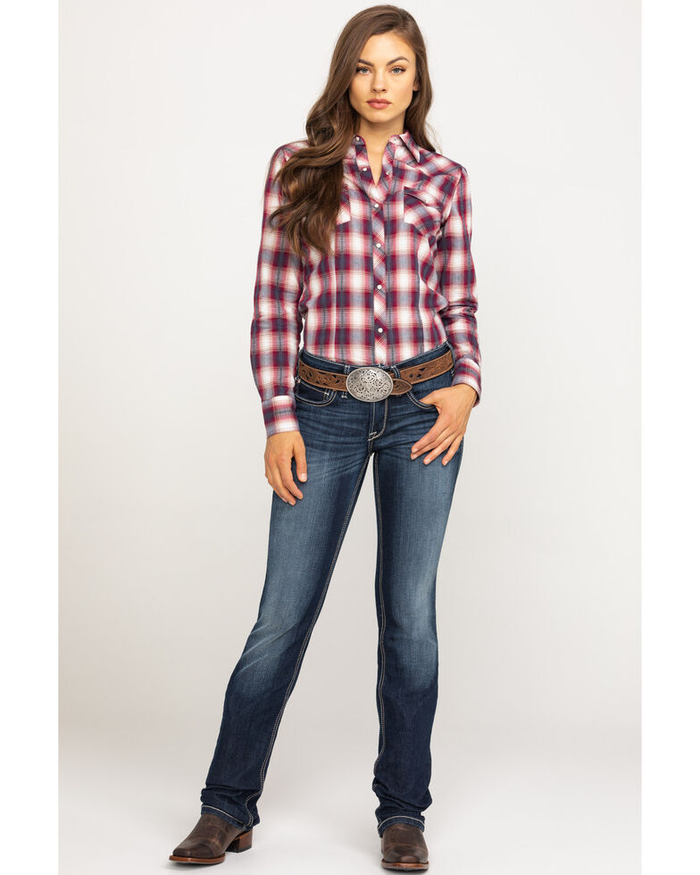 West Made Women's Red & White Plaid Long Sleeve Western Shirt, Red, hi-res