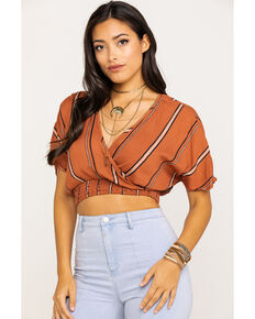 4e8eee9be7f3eb Angie Women's Rust Stripe Wrap Short Sleeve Crop Top