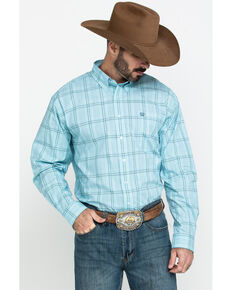 Cinch Men's Light Blue Large Plaid Long Sleeve Western Shirt , Light Blue, hi-res