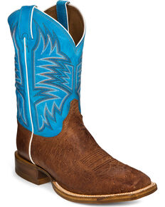 Justin Men's Smooth Quill Ostrich Blue Top Cowboy Boots - Square Toe, Brown, hi-res