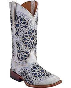 Ferrini Women's Mandala Western Boots - Wide Square Toe , White, hi-res