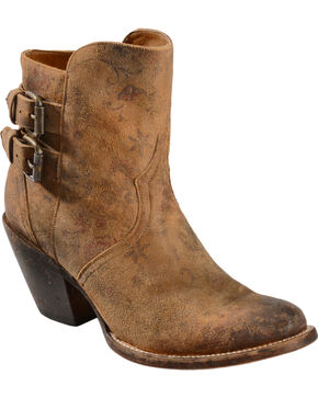 Lucchese Women's Catalina Floral Print Buckle Shorty Boots, Brown, hi-res