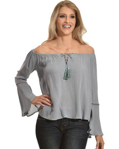 Sage the Label Women's Blue Peasant Off The Shoulder Top , Blue, hi-res