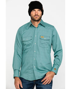 Wrangler Riggs Men's FR Green Geo Print Long Sleeve Work Shirt - Big & Tall , Green, hi-res