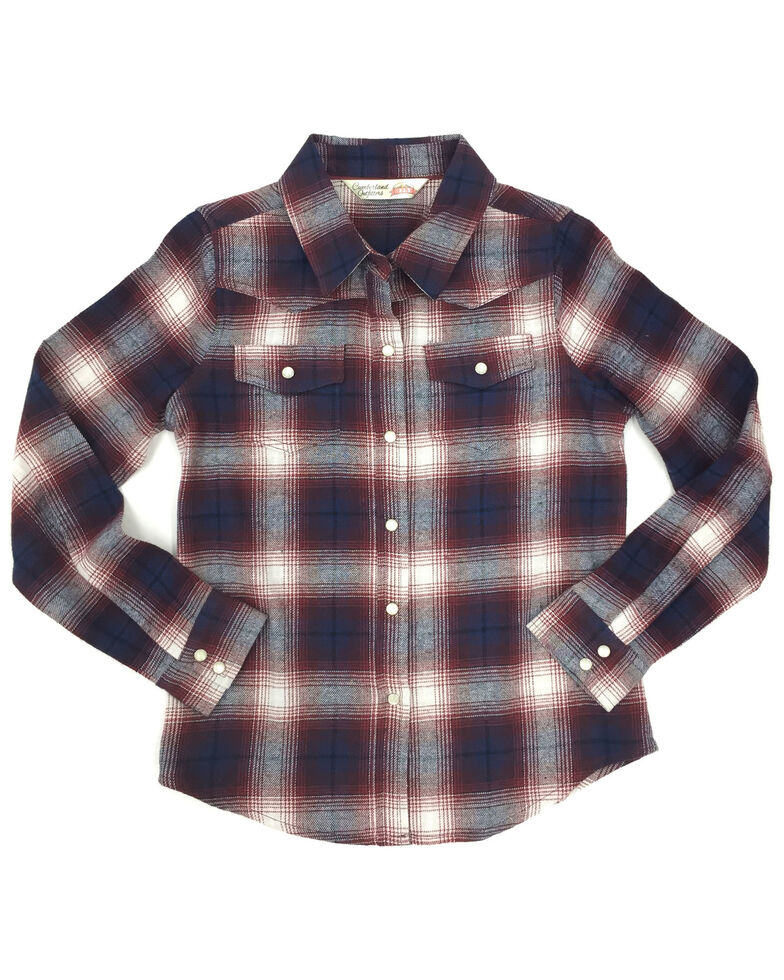 Ely Cattleman Girls' Rose Plaid Long Sleeve Western Flannel Shirt , Rose, hi-res