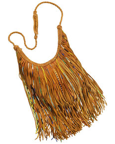 Kobler Leather Bead and Fringe Gypsy Bag , Tan, hi-res