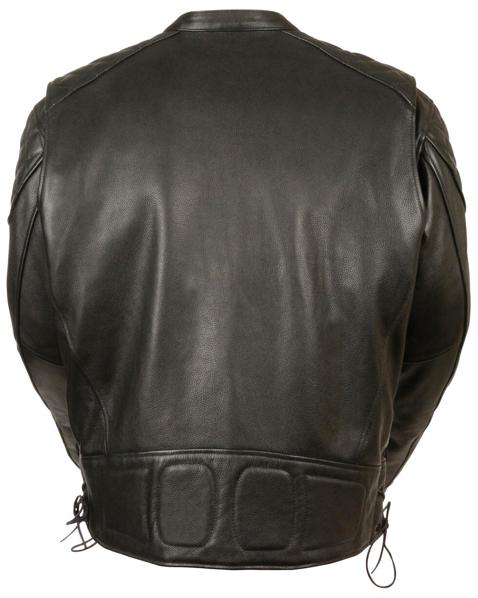 Milwaukee Leather Men's Full Side Lace Vented Scooter Jacket - 3X, Black, hi-res