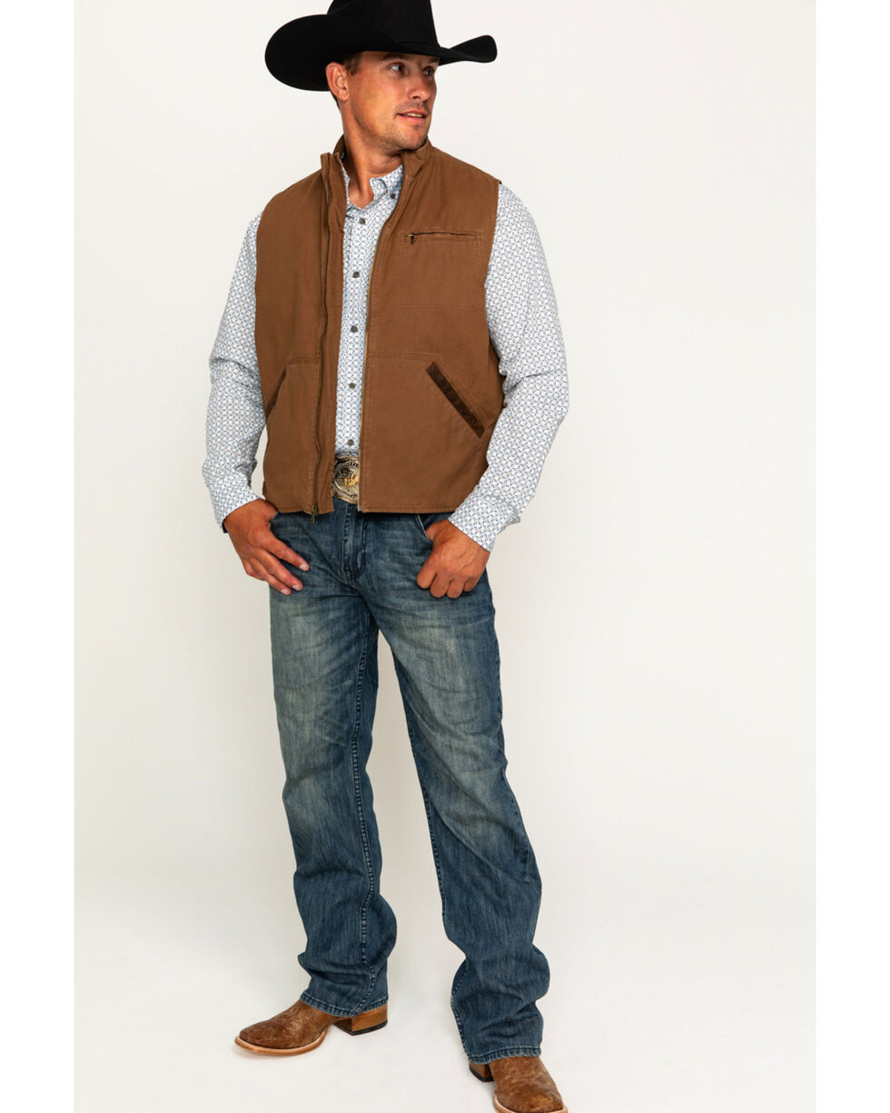 Cody James Men's Dusty 2.0 Oil Skin Zip-Up Vest , Brown, hi-res