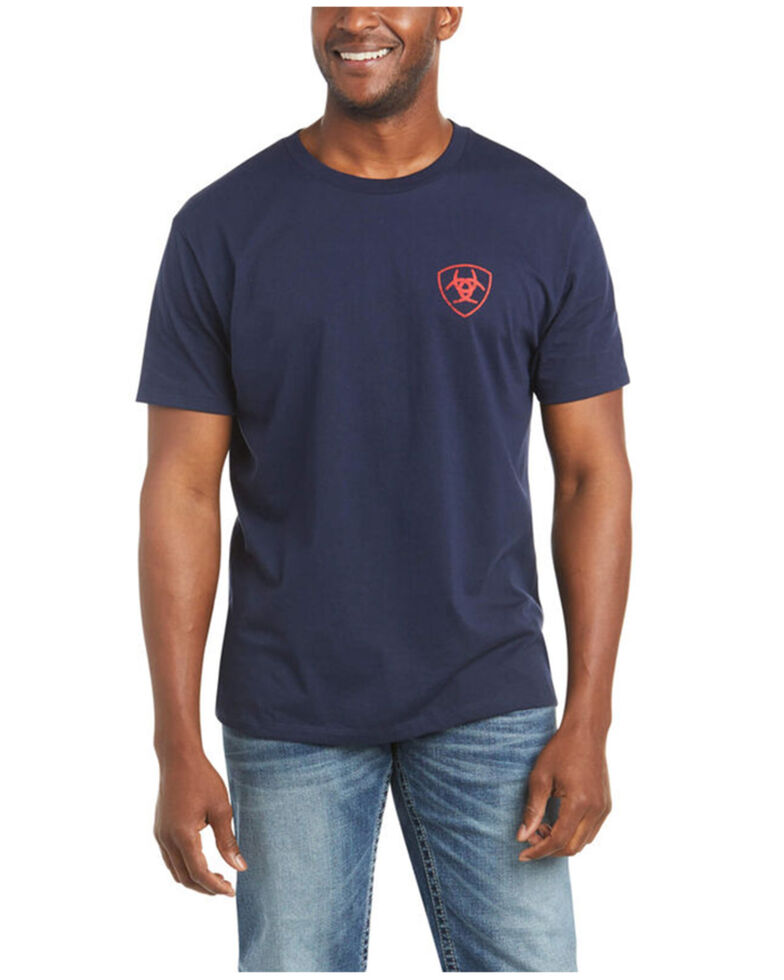 Ariat Men's US Of A Flag Graphic T-Shirt , Navy, hi-res