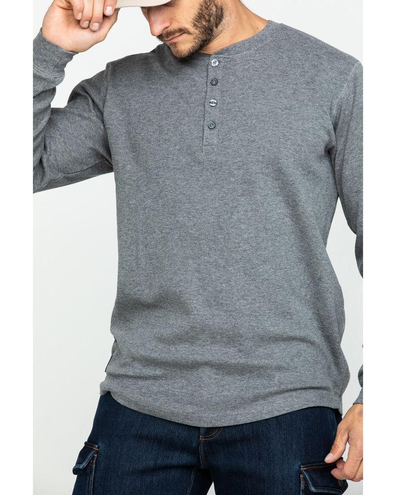 Hawx Men's Heather Grey Thermal Henley Long Sleeve Work Shirt , Heather Grey, hi-res