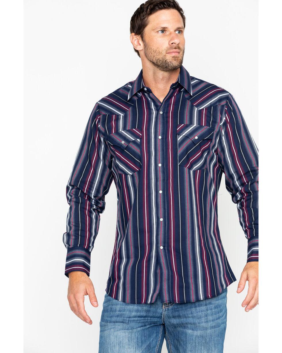 Ely Cattleman Men's Textured Stripe Long Sleeve Western Shirt , Navy, hi-res