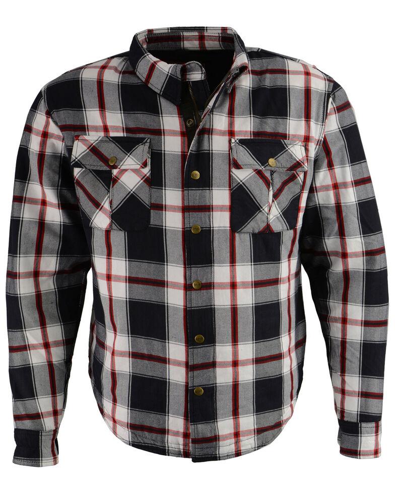 Milwaukee Performance Men's Aramid Reinforced Plaid Flannel Biker Shirt, Black/red, hi-res