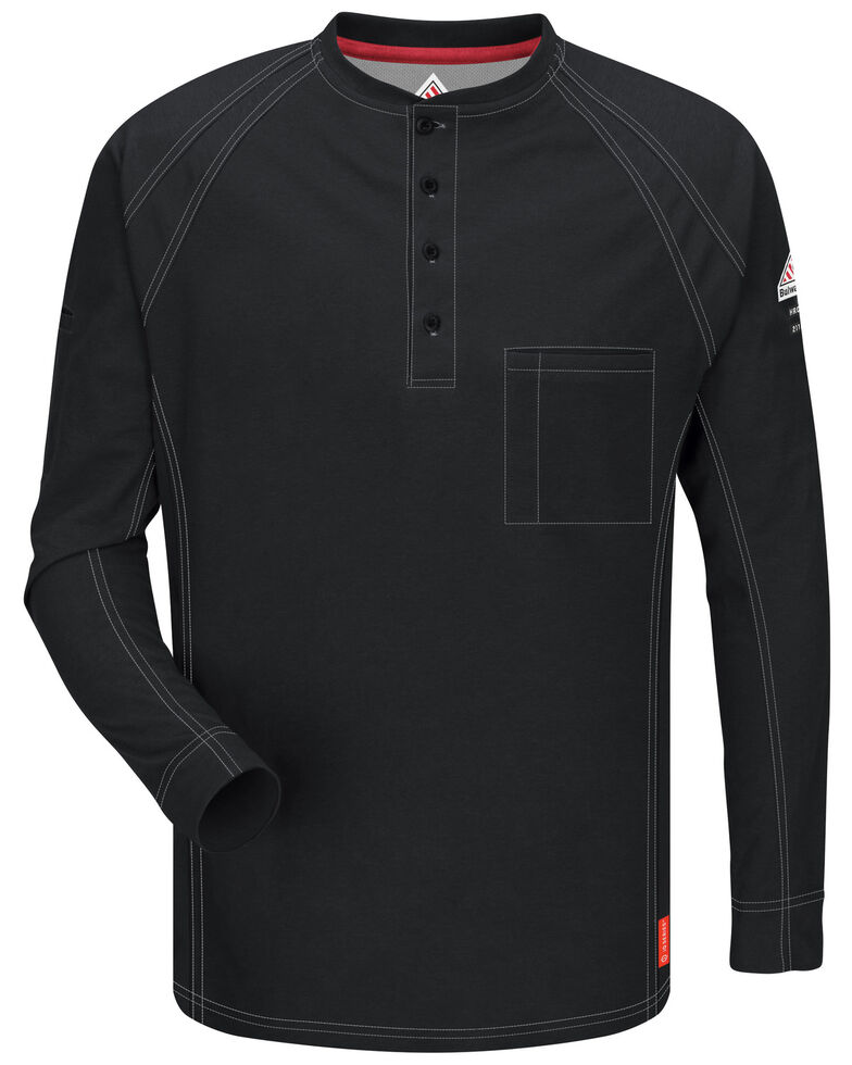 Bulwark Men's Black iQ Series Flame Resistant Henley Shirt, Black, hi-res
