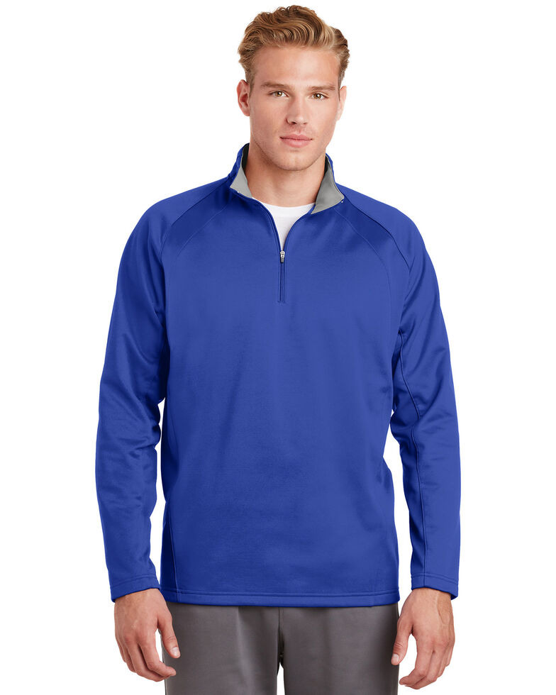 Sport Tek Men's True Royal & Silver Sport Wick Fleece 1/4 Zip Pullover Sweatshirt , Multi, hi-res
