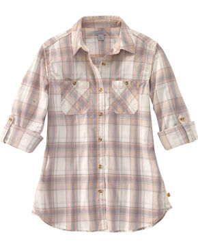 Carhartt Women's Plaid Long Sleeve Shirt, Peach, hi-res