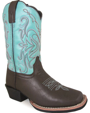Smoky Mountain Girls' Del Ray Western Boots - Square Toe , Brown, hi-res