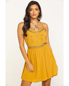 Shyanne Women's Mustard Beaded Bodice Dress, Dark Yellow, hi-res