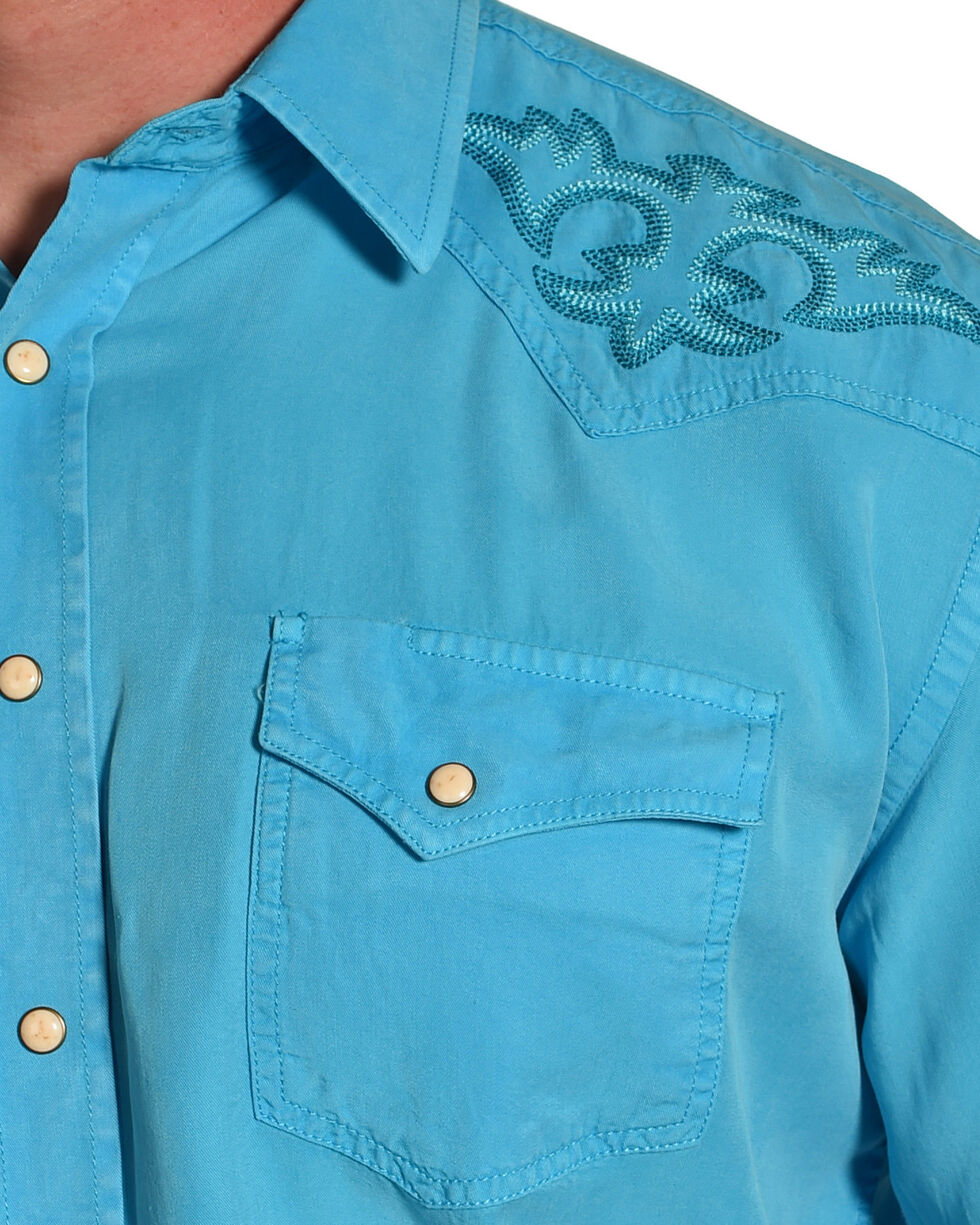 Rough Stock by Panhandle Men's Embroidered Crest Long Sleeve Western Shirt, Turquoise, hi-res