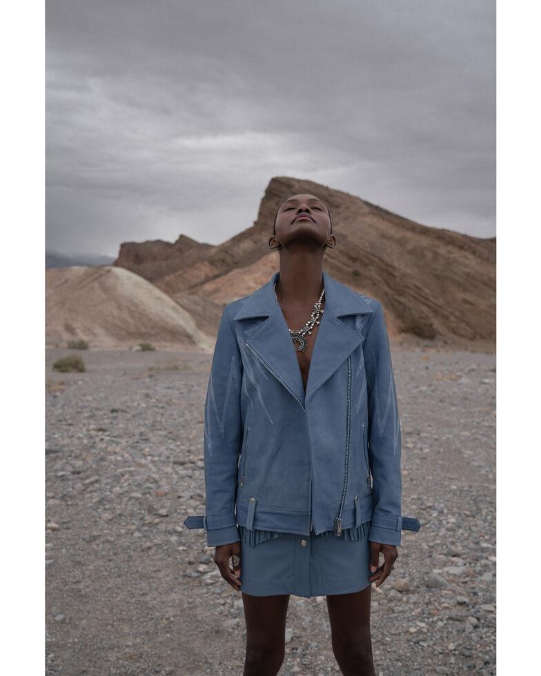 Understated Leather Women's Turquoise Sunburst Leather Zip-Front Moto Jacket , Turquoise, hi-res