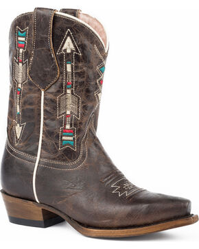 Roper Girls' Arrows Waxy Brown Leather Cowgirl Boots - Snip Toe, Brown, hi-res
