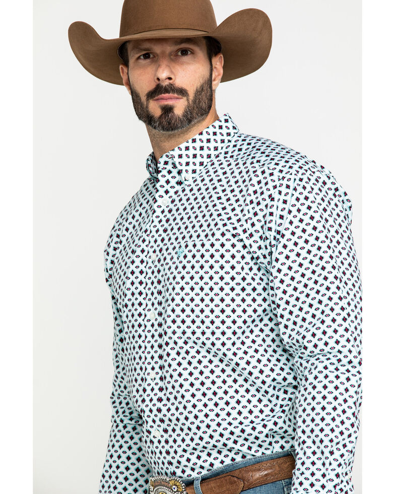 Ariat Men's Kaleb Stretch Aztec Geo Print Long Sleeve Western Shirt - Big , Multi, hi-res