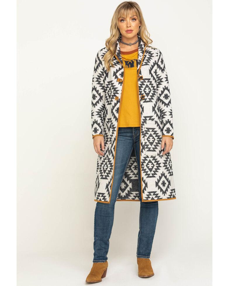 Shyanne Women's Aztec Long Blanket Coat , Tan, hi-res