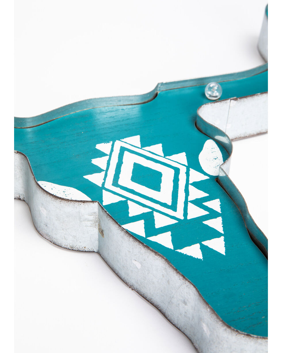 BB Ranch Longhorn Marquee Light Wall Decor, Turquoise, hi-res